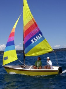 "My current Hobie Cat...A Holder named ""Little Bee"""